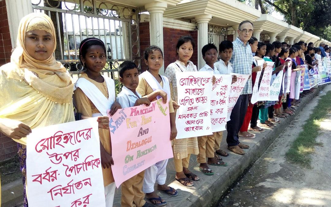 Cadena humana por los rohingyas